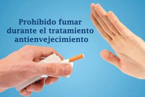 prohibido fumar durante el tratamiento antienvejecimiento